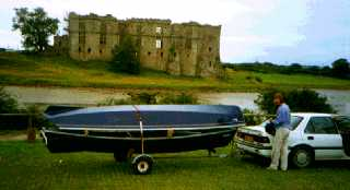 Linnet and Bee on trailer in Ireland prior to rowing down the Shannon