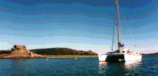 Gypsy anchored in the Scilly Isles
