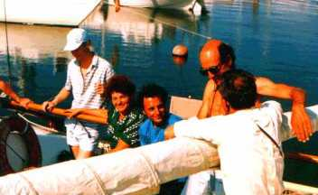 me, in blue shirt, on a Russian catamaran in Tallinn, USSR